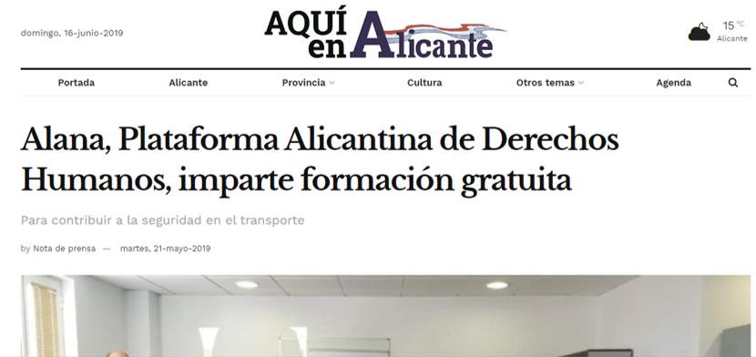 La Plataforma Alana protagonista en la prensa alicantina