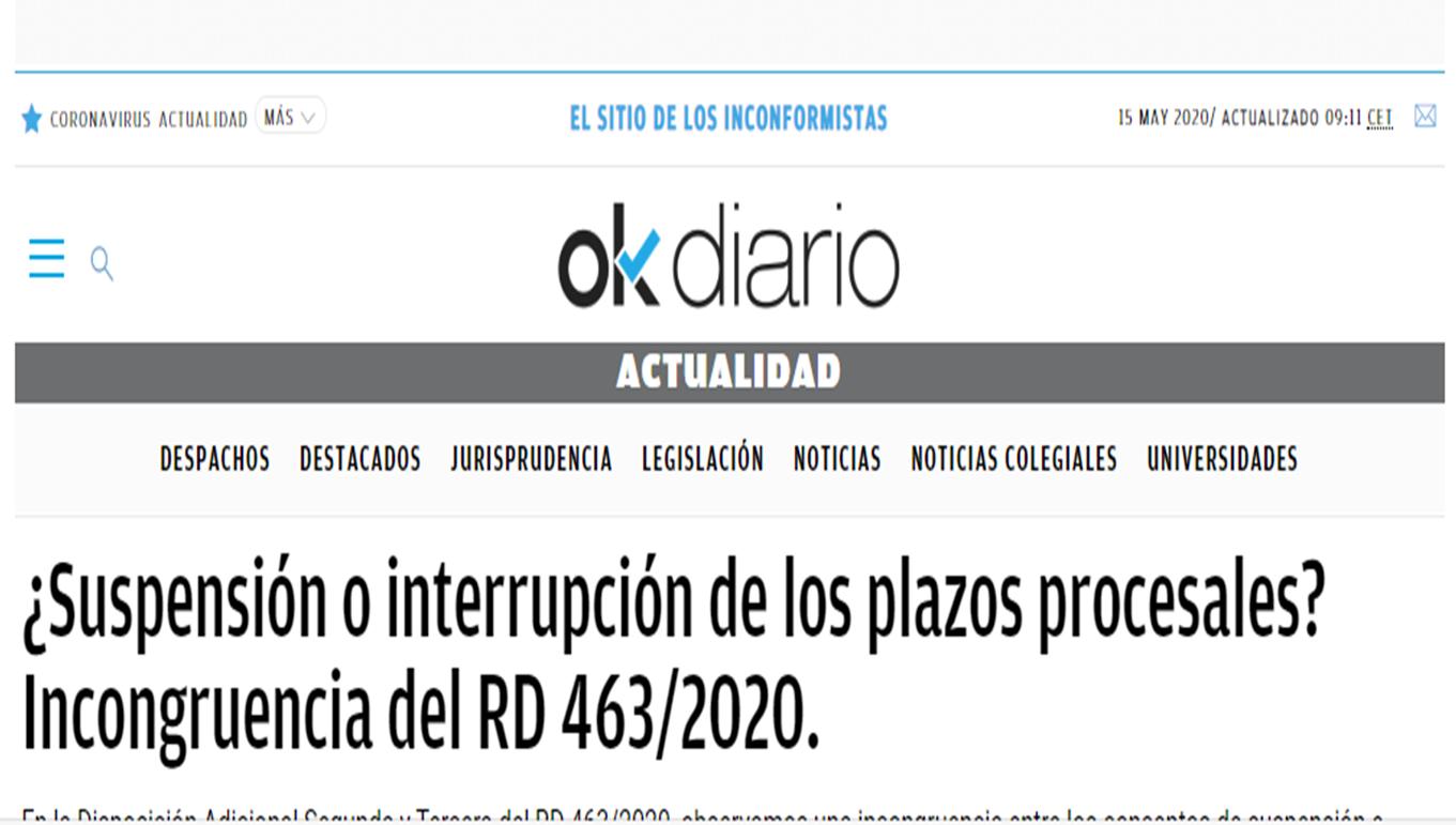 OkDiario. ¿Suspensión o interrupción de plazos?