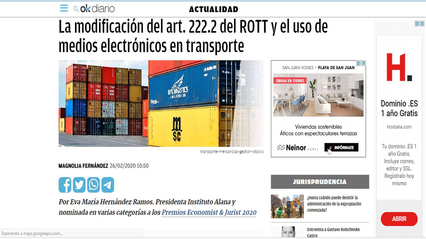 OkDiario. Artículo 222.2 ROTT y uso de medios electrónicos en transporte